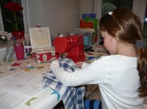 C at sewing machine