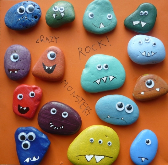 Halloween Pebble Monsters - navigating by joy homeschool blog